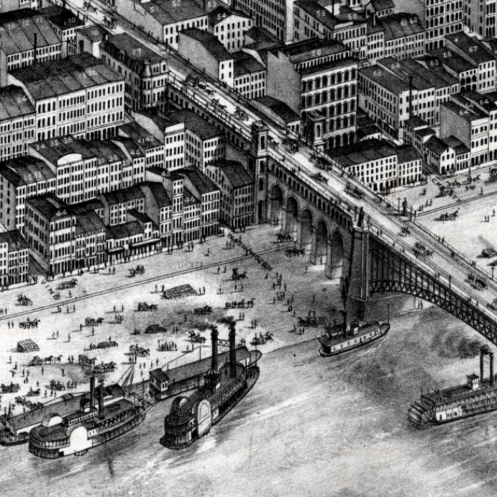 This segment of Plate 2 of the Pictorial Directory depicts approximately 1/20 of the area of that plate showing the east side of Eads Bridge. Consider the level of detail which if multiplied out, makes up about 1/2200 of the entire map. The density of the buildings is certainly less in the less populated sections of the map, but the detail and accuracy of representation and perspective remains.